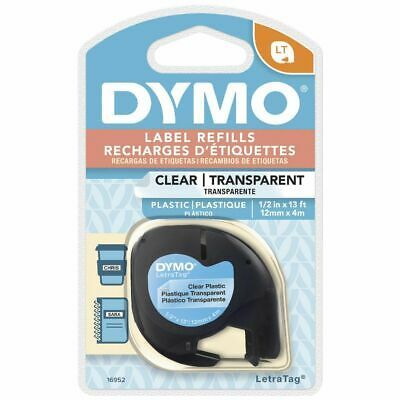 DYMO LetraTag Plastic Label Tape 12mm Black on Clear
