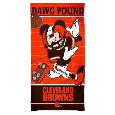 """Cleveland Browns Dawg Pound Mickey Mouse 30""""x60"""" Spectra Beach Towel New"""