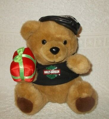Harley Davidson Motorcycles 1999 Stuffed Plush Christmas Bear With Gift Box 10""