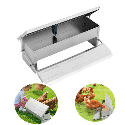 Outdoor Poultry Backyard Chicken Feeder Feed Food Trough Aluminum Sliver Blue