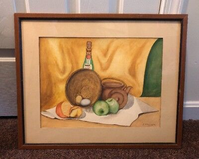 Vintage Watercolor Still Life Painting signed by artist Palmer