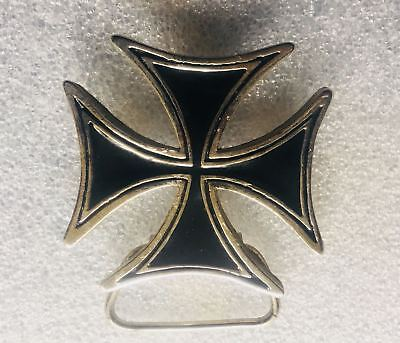 Iron Cross Maltese Chopper Buckle Metal Biker Punk Mens Womens Feeanddave