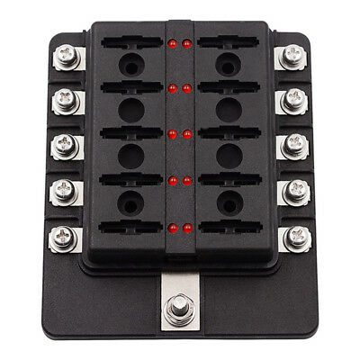 10 Way Circuit Blade Fuse Box 32V Black 20A 15A 10A 5A Fuse Pieces with Cover