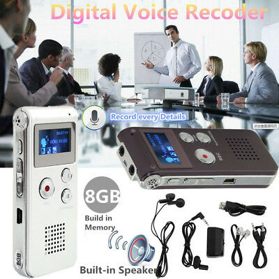 Rechargeable 8GB Digital Audio/Sound/Voice Recorder Dictaphone MP3 Music Player