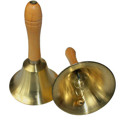 Solid Copper Brass Hand Bell w/ Wooden Handle For Dinner Shop Hotel Santa Church