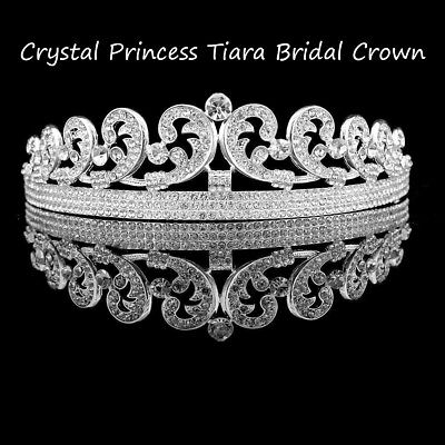 Silver Rhinestone Crystal Princess Tiara Wedding Bridal Crown Veil Hair Accessor