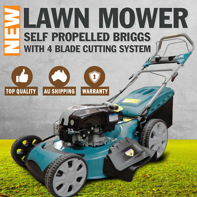 "NEW 22"" Lawn Mower Self Propelled Briggs Stratton Powered Petrol Lawnmower"