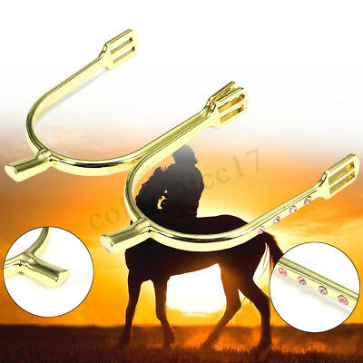 1 Pair Zinc Alloy Horse Spurs Inlaid Crystal Smooth Riding Beautiful 20mm UK