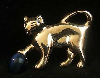 Vintage Silver Tone Kitty Cat with Faux Sapphire Ball Pin Brooch