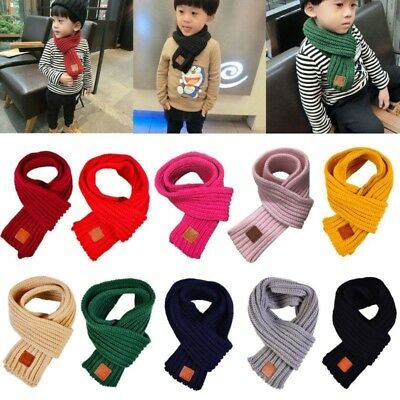 Boys Girls Baby Kids Knitted Scarf Lovely Autumn Winter Neck Warm Solid Scarves
