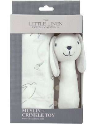 NEW The Little Linen Company Muslin Wrap & Crinkle Toy - Ivory Bunny