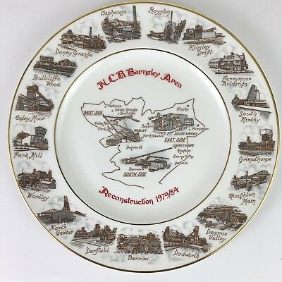 Commemorative COAL MINING COLLIERY PLATE Edwardian China - NCB BARNSLEY AREA