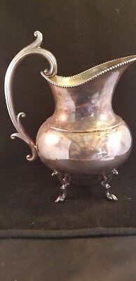 Silver on Copper vintage footed Water Pitcher