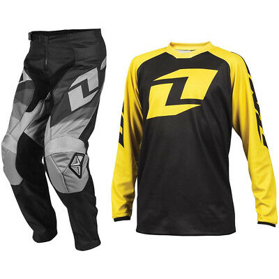 ONE INDUSTRIES YOUTH BLACK ATOM MOTOCROSS PANTS / RAGLAN YELLOW JERSEY child kit
