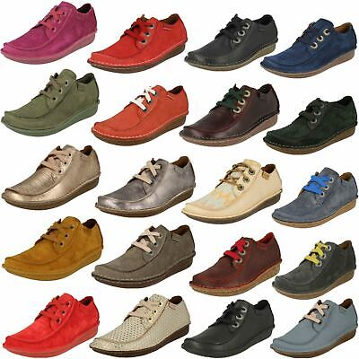 Ladies Clarks Comfortable Casual Lace Up Leather Flats Funny Dream