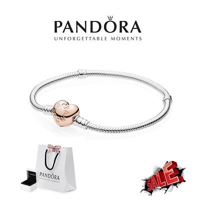 Genuine Pandora Rose Gold Heart Clasp With Moments Silver Bracelet 580719