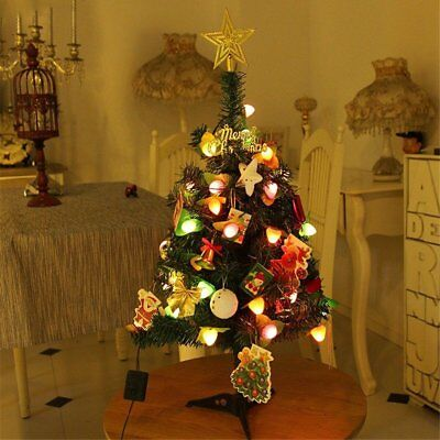 Small Mini 60cm Pre-Lit Christmas Xmas Tree With Stand Table Top Ornament Decor