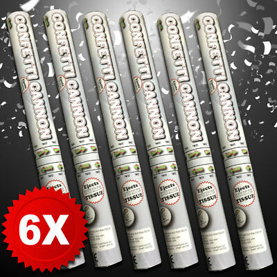 6X 50cm PREMIUM White Tissue Confetti Cannons, Large Party Poppers