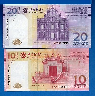 Macau P-108 & P-109 10 & 20 Patacas Year 2013 Uncirculated Banknotes Set # 3