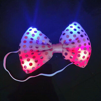 Women Girls Bow Hairband Glowing Light Up Hair Rope Party Sequins Accessories