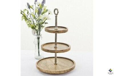 BLACK QUBD 3 Tier Mango Wood Cake Stand / Server | Size 30x30x45 cm