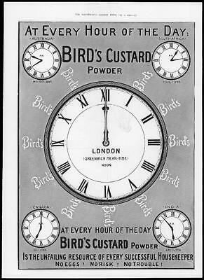 1902 Antique Print - ADVERTISING Birds Custard Powder Clocks Hour Day (23)
