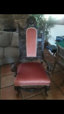 Vintage Victorian Velvet Mahogany Addison King Chair Rose Wooden Antique Carved