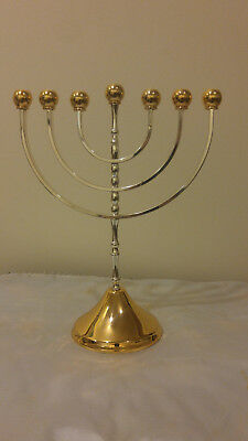Channukah Menorah, Silver and gold plated. New