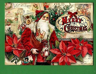 VICTORIAN SANTA & POINSETTIA - EMBELLISHED CHRISTMAS CARDS by PUNCH STUDIO (4)