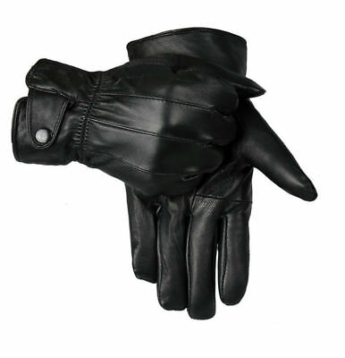 Men Touch Screen 100% Leather Gloves Thermal Lined Black Driving Winter Gift