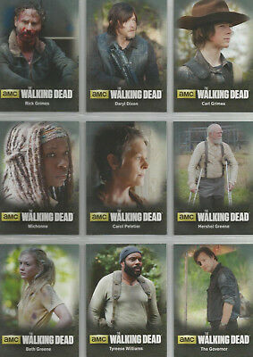 2016 The Walking Dead Season 4 Part 1 Character Bios Inserts COMPLETE SET #C1-C9