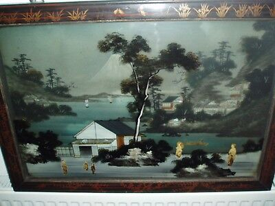 Antique Japanese 3D Lacquer And Glass Painting - Mt Fuji & Geisha's