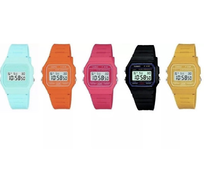 Casio F91W Watch Digital Chronograph Alarm Resin - Black/Blue/Orange/Pink/Beige