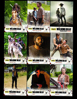 2016 The Walking Dead Season 4 Part 1 COMPLETE BASE SET #1 - 72 Komplett