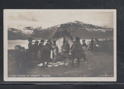 Real Photo Postcard Tourists Visiting Laplanders Lapps Sami Tromso Norway Unused