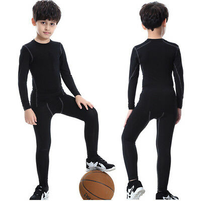 Kids Athletic Base Layer Compression Thermal Underwear Long John Top &Bottom Set