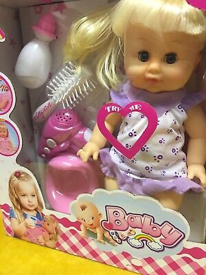 Baby Doll with Sounds Set with Potty & Hair Accessories BABY BOX PACKAGE NEW