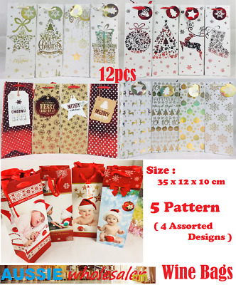 12x Christmas XMAS Wine Bottle Gift Bags Paper Carry Bags Gift Wrap Holder Party