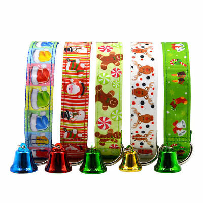 KQ_ HK- Christmas Pet Dog Cat Collar Adjustable Xmas Design with Small Bell Clev