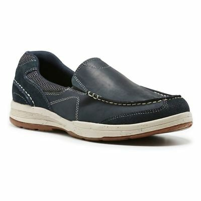 Mens Hush Puppies Eli Navy Blue Casual Leather Work Slip On Shoes 10Uk $159.95