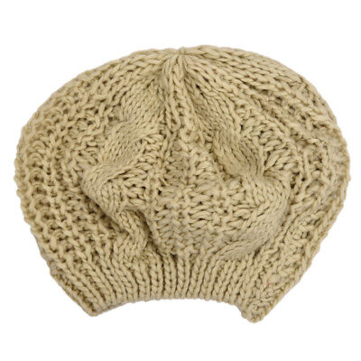 Beige Winter Lady's Warm Knitted Knit Beret Braided Ski Cap Baggy Beanie Cr D5P9