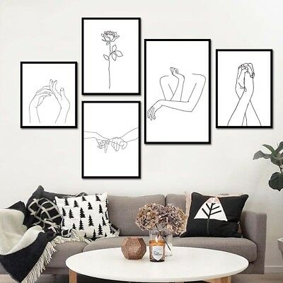 Nordic Simplified Flower Hands Drawing Canvas Painting Wall Picture Decor Comely