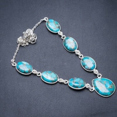 "Copper Turquoise 925 Sterling Silver Necklace 18.25"" Y3899"