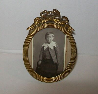 ANTIQUE 'SHABBY' VICTORIAN MINIATURE BRASS PICTURE FRAME w/child photo