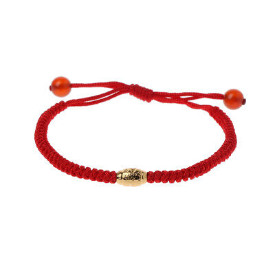 Handmade Kabbalah Red String Evil Eye Protection Bracelet with Lucky Gold Beads