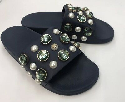 0f7622fde942   Tory Burch Women s Vail Embellished Slides Sandals - Women s size 5- Navy
