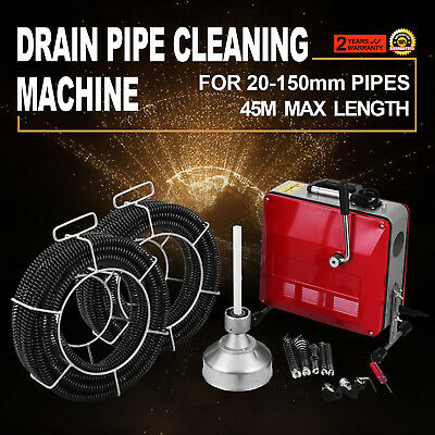 390W Sectional Drain Cleaner Cleaning Machine 8/16/22mm 30M Augers Spring Cable