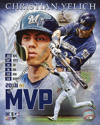 c0c5c8aeb3a Christian Yelich Milwaukee Brewers 2018 MVP Authentic Portrait Plus 8x10  Photo