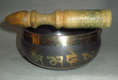"4.3"" Old Tibet Tibetan Buddhism Bronze 6 Mantras Singing Bowl"