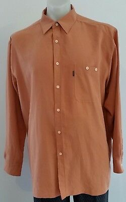 Mens Retro 90s BACK BAY Originals COPPERY ORANGE Business SHIRT size XL